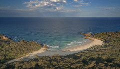 Afternoon's delight (from the forest to the sea) (OzzRod (on the wallaby)) Tags: dji phantom3advanced djifc300s drone quadcopter aerial oblique bay beach headlands forest sea ocean clouds crepuscularrays fingersofgod barraggabay