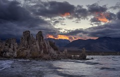 Fire over Mono Lake (PeterThoeny) Tags: monolake southtufaarea leevining california tufa water rock landscape shore shoreline lake saltwater wave sky day cloud sunset bluehour outdoor sony a7 a7ii a7mii alpha7mii ilce7m2 fullframe vintagelens dreamlens canon50mmf095 canon 3xp raw photomatix hdr qualityhdr qualityhdrphotography mountain fav200