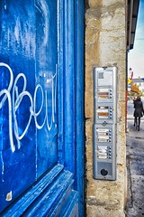 Doorbells (stephaneblaisphoto) Tags: architecture blue building exterior built structure business city communication container day entrance graffiti incidental people occupation outdoors real rear view street text western script