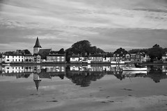 High Tide at Bosham (Peter Meade) Tags: petermeade petermeadephotography pjmeade bosham beautiful goldenhour risingtide hightide sussex chichester westsussex tidal inlet tidalinlet church chichesterharbour boats blueskies reflections peaceful morning early blackandwhite monochrome canoneos5dmarkiii canonef2470mmf4lisusm