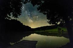 MIdnight reflection (BalintL) Tags: summer lake night dark reflection midnight sky star stars milkyway milky way green grass tree trees woods hills blue pano panorama fujifilm xe1 samyang 21mm f14 wideopen ropoly somogy hungary antares saturn