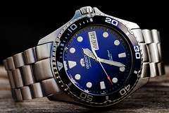 Orient Blue Ray II and Strapcode End Mill bracelet (hz536n/George Thomas) Tags: 2018 canon canon5d ef100mmf28lmacrois michigan ogemawcounty prescott copyright cs6 fall upnorth watch orient rayii strapcode endmill