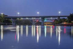 Bridges over the Mississippi River (Sam Wagner Photography) Tags: dartmouth franklin lake marshall short line train traffic interstate highway infrastructure blue twilight hour long exposure mighty mississippi river reflections summer twin cities minneapolis st paul midwest