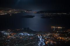 San Francisco Bay at Night from Above - 1 (fksr) Tags: aerialphotography night citylights cityscape sanfranciscobay california sanfrancisco goldengatebridge goldengate angelisland marinheadlands tiburon richmond water moonlight