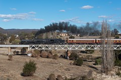 Queanbeyan River Crossing (Henry's Railway Gallery) Tags: 6029 ad60class garratt steamlocomotive steamtrain heritagetrain thnsw transportheritagensw passengertrain 6s76 queanbeyanriverbridge queanbeyan