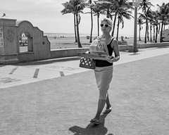 pizza delivery (rosserx) Tags: hollywoodbeach southflorida beach boardwalk ocean blackandwhite street documentary