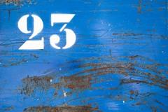 Ordinal (Gerard Hermand) Tags: 1807285047 gerardhermand france paris eos5dmarkii lavillette metal peinture paint bleu blue rouille rust 23 numero number canon