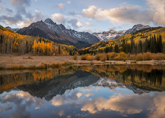 Twice as Good (Hilton Chen) Tags: aspentrees autumn fallcolors landscape sanjuanmountains reflection colorado mountsneffels sunrise ridgway unitedstates us