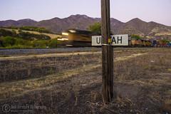 UI[NT]AH Twilight (Josh 223) Tags: unionpacific freighttrain stationsign uintah utah up train railroad railway
