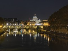 Rome by night (marklewis35) Tags: rome italy tiber vatican night huawei huaweip20pro holiday travel vacation reflections reflection bridge