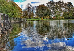 The power of nature!❤ (LeanneHall3 :-)) Tags: groupenuagesetciel lake reflection reflect water bridge trees brown treetrunks branches leaves green grass blue sky skyscape clouds talkativeclouds cloudsstormssunsetssunrises white eastpark hull kingstonuponhull landscape canon 1300d