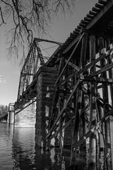 The old railway bridge - Vieux pont ferroviaire (soniamarmen) Tags: skancheli blackwhite urban bridge railway water river