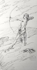 041/402 Ishmael draws the bow (Genesis 21:20) drawing by James Tissot at the John Rylands Library file created by Phillip Medhurst (Phillip Medhurst) Tags: ishmael archer bowandarrow hunter bookofgenesis tissot jamestissot jacquesjosephtissot johnrylandslibrary phillipmedhurst