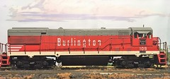 HO Scale Burlington U28B (atjoe1972) Tags: train modelrailroad hoscale 187 layout diorama athearn atjoe1972 burlington cbq u28b locomotive generalelectric custompainted 109 bluebox kit toy route