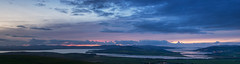 Swilly Panorama Sunset (Donnie Canning) Tags: ireland 2018 september donegal holiday olympus em1 mirrorless outdoor vacation eire republicofireland sky skyline cloud sun landscape land ground foreground nature view vista dusk bluehour sunset blue orange grianananaileach panorama loughswilly tidal muckishmountain distance