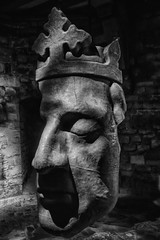 Face Off (Evoljo) Tags: caernfoncastle castle sculpture face king crown gwynedd uk wales blackwhite nikon d500