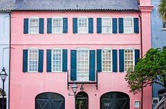 Pink Rainbow Row house on East Bay Street in Charleston South Carolina (CarmenSisson) Tags: charleston southcarolina rainbowrow neighborhood south southeasternus wall doors usa unitedstates us america lowcountry eastbaystreet residence home travel windows masonry brick tropical colorful cheerful pattern architecture facade