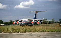 CCCP-76758. HeavyLift Ilyushin IL-76 (Ayronautica) Tags: ayronautica aviation scanned freighter heavyliftcargoairlines stansted egss stn ilyushinil76 cargo september 1992