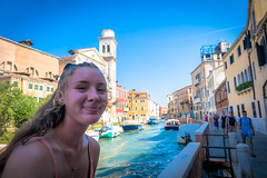 Stephanie taking in the streets and water canals in Venice Italy.