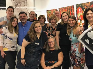 Gallerist Susanne Snider surrounded by artists and collectors at her gallery Rojas-Ford at a recent presentation of Costa Rica women artists