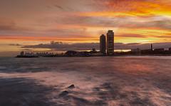 Sunset LE BCN (bienve958) Tags: litoralbcn puestasol largaexposicion bcn catalunya sunset landscape cityscape paisaje atardecer skyline portolimpic bogatell playa beach sky clouds