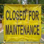 Closed for Maintenance Sign in KLCC Park in Kuala Lumpur thumbnail