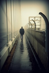 The Solitary Path (HiJinKs Media...) Tags: vanishingpoint lines leadinglines geometry reflection wet cold weather early morning path bridge bristol perspective pov atmosphere atmospheric solitude lonely fog mist