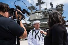 USS Ronald Reagan (CVN 76) pulls into Guam for a port visit.