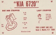 Hot Dog Stripper & Lady Stripper - Madrid, New York (73sand88s by Cardboard America) Tags: qsl cb cbradio vintage qslcard newyork hotdog