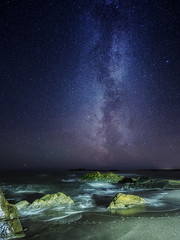 nighttime... (bjorns_photography) Tags: night milkyway galaxy rock water ocean photography view sand beach clear sky