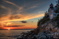 Bass Harbor Lighthouse Sunset (Reid Northrup) Tags: nature acadia acadianationalpark autumn barharbor cliffs clouds color fall forest landscape lighthouse maine ocean reidnorthrup rocks rugged sunset trees water waves nikon rrs bassharborlighthouse