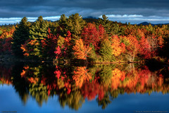 Maine Autumn Foliage Colors (Greg from Maine) Tags: maine autumn foliage river stream water reflection nature landscape baxterstatepark leaves red orange yellow sky newengland abolbridge goldenroad trees evergreen nesowadnehunk