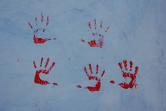 high five (rick.onorato) Tags: morocco desert arab berber north africa hand print wall blue city