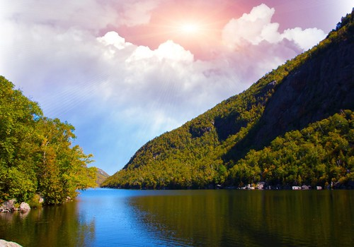 Lake Placid New York  ~  Sunset over Saranac River -