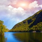 Lake Placid New York  ~  Sunset over Saranac River - thumbnail