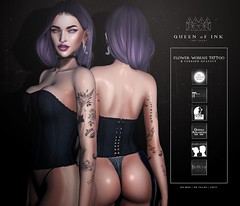*Queen oF Ink - Flower Woman Tattoo @L8 (MonaSax95 | Queen oF Ink) Tags: new news tattoo tatts black minimal female woman women queenofink ink inked blackwhite secondlife sl avatar photo pic shot picture vendor shop shopping shopper photographer photography exclusive event