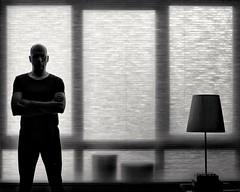 Window (Landec) Tags: bw monochrome lines silhouette selfportrait backlight vivitar28mm mf