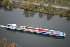 Ship from high above (roomman) Tags: 2018 germany rheinland pfalz rheinlandpfalz untermosel rhein mosel koblenz winningen sightseeing weekend nikon fullframe frame full quality high transport transportation river boat barge vessel cargo freight container containers conenct connection tigris china shipping chinashipping flow nature landscape