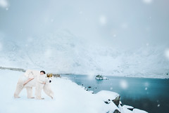 The polar bear king (Vicky_Potter) Tags: polarbear king snow mountain wales northwales cwmidwal conceptual creativeportrait selfportrait