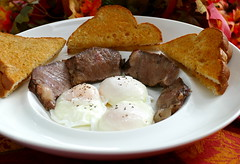 Treat Yourself Even If It's Breakfast For One (Eat With Your Eyez) Tags: treat yourself breakfast for one prime rib soft poached eggs buttered toast fall autumn tablescape plating foodporn