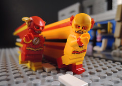 Red and Yellow Blurs (-Metarix-) Tags: lego super hero minifig dc comics comic flash reverse barry allen eobard thawne professor zoom yellow red blur city race