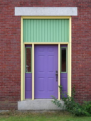 Side door, Searsport, Maine (Spencer Means) Tags: door color colorful wall brick architecture commercial building searsport maine me