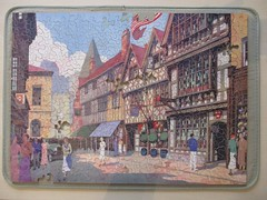 Stratford-upon-Avon (Harvard House) (pefkosmad) Tags: chadvalley gwr greatwesternrailway advertising stratforduponavon harvardhuse scene buildings vintage 1930s jigsaw puzzle hobby leisure pastime incomplete missingpieces street