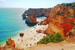 Praia da Marinha - Algarve, Portugal (Ayarphotographer) Tags: sea ocean water saltwater turquoise blue deep briny beach sand cliffs bluff rocks rocky islets steep natural nature environment seascape seaview seaside coast seaboard boardwalk shore seashore relaxing recreation sunbathing tanning tanned praia marinha algarve portugal beautiful european europe mediterranean swimming scenic scene scenery tourism tourist attraction destination vacation geography holiday outdoors open air abrupt alfresco paradise paradisiacal day daylight geographical feature surface