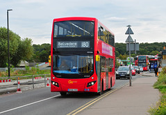 GO Ahead-London bus MHV84 (not the most common of types for this route) is seen on the 180 at Abbey Wood on 1-10-18 (I C railway photo's) Tags: mhv84 abbeywood goaheadlondon bus route180