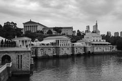 Philadelphia from the Schuylkill (Dalliance with Light (Andy Farmer)) Tags: artmuseum philly schuylkillriver waterworks cityscape acros skyline philadelphia bw pennsylvania unitedstates us