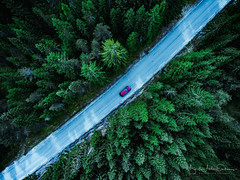 Norwegian country road (B.AA.S.) Tags: sognogfjordane norway no norge nature natur forest summer car red green drone phantom4 aerialview aerial tree treetop road connection lookingdown highangleview highup travel traveling journey thewayforward