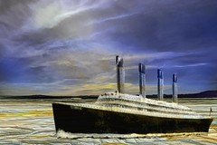 Titanic in the Salt Marsh (Rusty Russ) Tags: titanic salt marsh sky water colorful day digital window flickr country bright happy colour eos scenic america world sunset beach red nature blue white tree green art light sun cloud park landscape summer city yellow people old new photoshop google bing yahoo stumbleupon getty national geographic creative composite manipulation hue pinterest blog twitter comons wiki pixel artistic topaz filter on1 sunshine image reddit tinder russ seidel