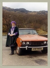 Rover 2000 TC (Vintage Cars & People) Tags: vintage classic photo foto photography automobile car cars motor vehicle antique auto rover roverp6 rover2000tc orange bitterapricot fashion woman lady 1980s eighties cape beret stockings turtleneck sweater