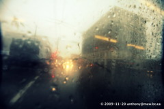 Rainy Day Bus Ride (anthonymaw) Tags: bus headlights intersection rain raindrops transit vancouver window